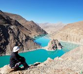 Holy lake in Tibet from Simi-la pass poster