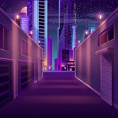 Side street in night metropolis cartoon vector with illuminated skyscrapers buildings, self-storage business facilities, garage closed roll gates illustration in neon colors. Modern city empty street poster