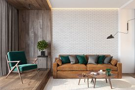 Modern Living Room Interior With Brick Wall Blank Wall, Sofa, Lounge Chair, Table, Wooden Wall And F