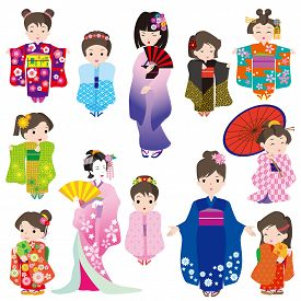 Japanese Women In Kimono Dress Character Set