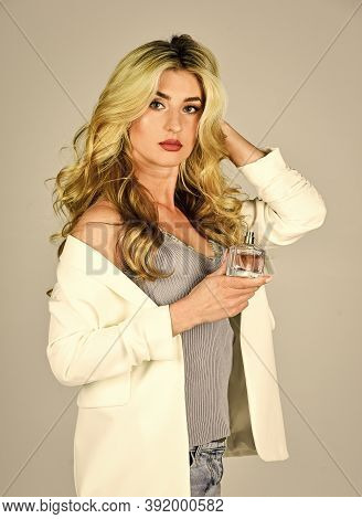 Femininity. Attractive Woman Hold Perfume Bottle. Favorite Fragrance. Fragrance For Youth. Female Fr