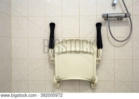Shower Seat Wall Mounted For Disabled Person Or Elderly, Shower For Handicapped Or Senior Home