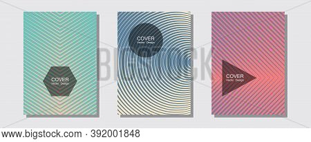 Abstract Shapes Of Multiple Lines Halftone Patterns. Business Folders Branding. Halftone Lines Music