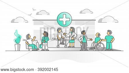 Hospital As Healthcare Medical Ambulance Or Clinic Monocolor Outline Concept. Emergency Sick Patient