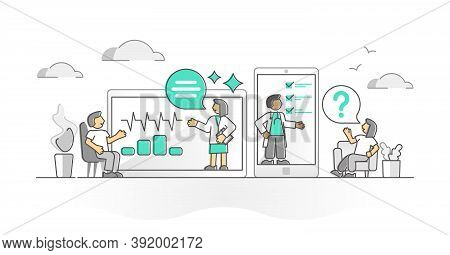 Virtual Doctor As Medical Health Support Online Monocolor Outline Concept. Doctor Consultation, Chec