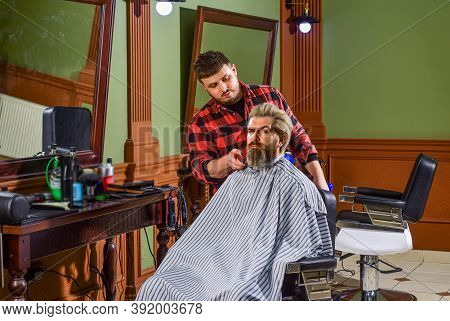 Man Client Sit Chair. Barbershop Services. As Gentleman And Decent Human Being, You Must Tip Your Ba