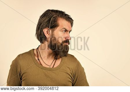 Beauty And Hair Fashion. Brutal Bearded Hipster. Handsome Man. Barbershop Salon. Care For Male Skin.