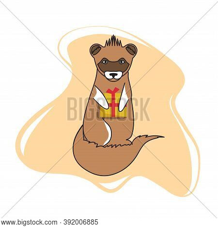 Ferret With A Gift Box In Its Paws. Animals Illustration In Flat Style