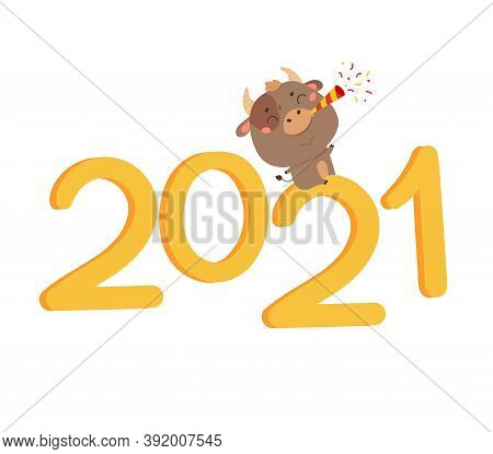 Christmas Sale Design Template. Xmas Cute Ox With Giant Lettering 2021 Blows A Pipe With Confetti. N