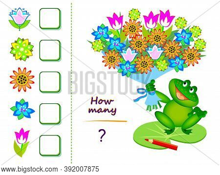 Math Education For Children. Count Quantity Of Flowers In Bouquet And Write Numbers. Worksheet For S