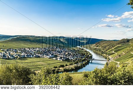 Blue Hour With View To Trittenheim Moselle Valley In Germany