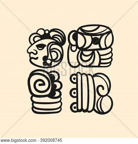 Ancient Mayan Tattoo Alphabet, Tattoo Picture. Mexican Mesoamerican Glyph, Hieroglyphic. Maya Civili
