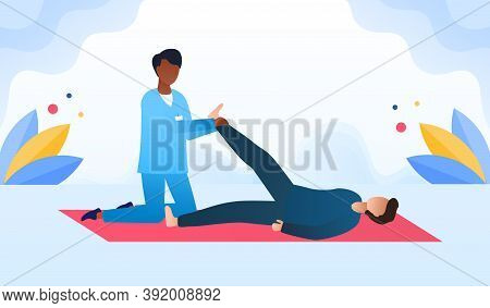 Disabled Man At Orthopedic Rehabilitation Therapy At Clinic. Masseur Massaging The Patients Leg Lyin