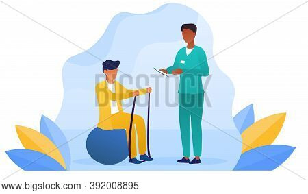 Disabled Man At Orthopedic Rehabilitation Therapy At Clinic. Doctor Examining Patient Doing Exercise