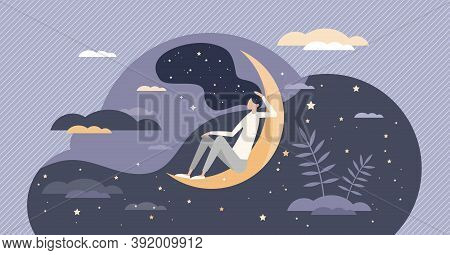 Good Sleep At Night Moon With Deep, Sweet And Healthy Dreams Tiny Person Concept. Sky With Stars As