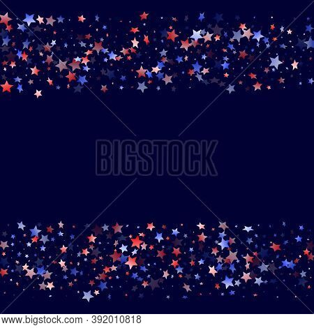 American Presidents Day Stars Background. Holiday Confetti In Us Flag Colors For Patriot Day. Gradie