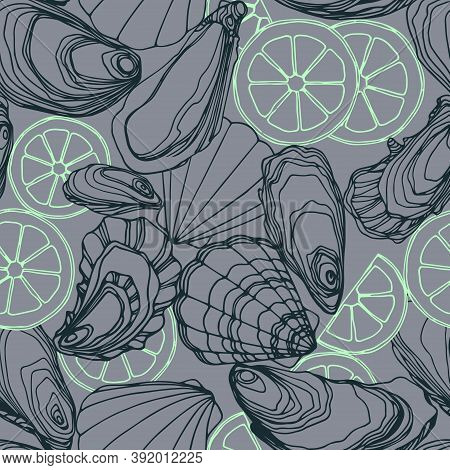 Seamless Pattern Of Oysters In The Shell, Scallops, Lemon, Delicious Seafood, Menu Decoration, Vecto