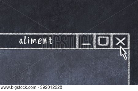 Chalk Sketch Of Closing Browser Window With Page Header Inscription Aliment