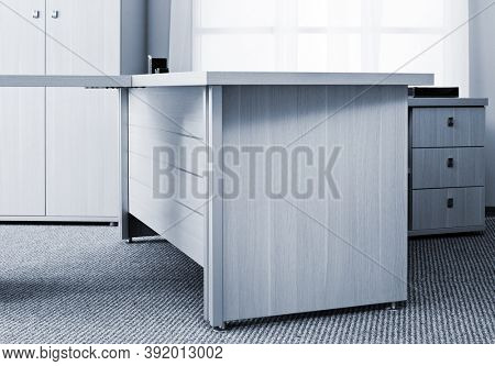 desk with drawers in a modern office