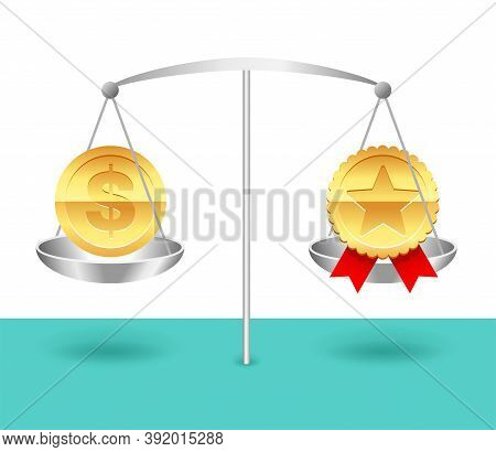 Value And Price Balance - Equality Of Product Cost And Quality - Money Coin And Award Icon Weighing
