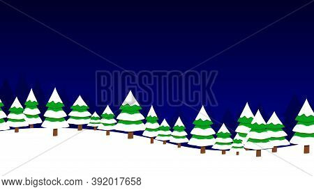 Cartoon Winter Landscape With Snowy Forest. New Year Greeting Card.
