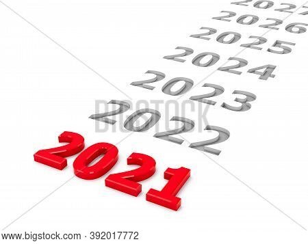 2021 Future Represents The 2021 Year, Three-dimensional Rendering, 3d Illustration