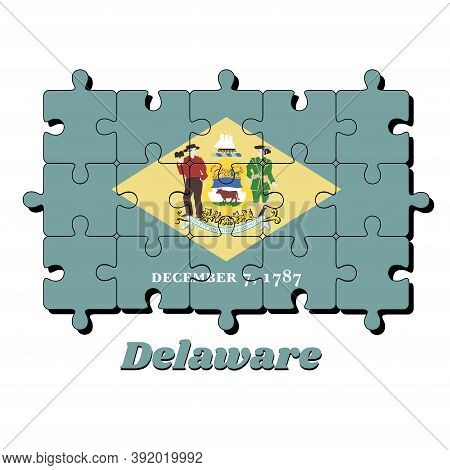 Jigsaw Puzzle Of Delaware Flag, Yellow Diamond Shape On Green With Coat Of Arms Of The State And The