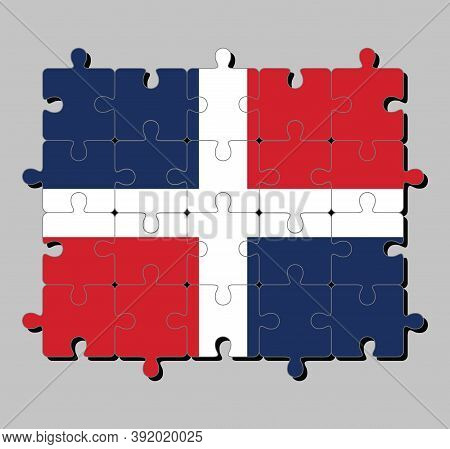 Jigsaw Puzzle Of Dominican Republic Flag In White Cross Into Four Rectangles, Blue And Red At The To