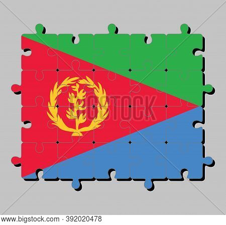 Jigsaw Puzzle Of Eritrea Flag In Tricolor Of Green Red Triangle On Blue And Green Triangle With Oliv