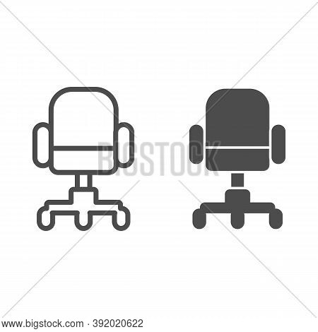 Office Chair Line And Solid Icon, Furniture Concept, Swivel Desk Chair Sign On White Background, Off