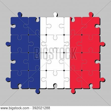 Jigsaw Puzzle Of France Flag In A Vertical Tricolor Of Blue White And Red. Concept Of Fulfillment Or