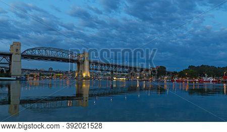 Vancouver City Skylike With Bridge At Dawn,bbritish Columbia, Canada. Urban Landcape At Dawn With Sa