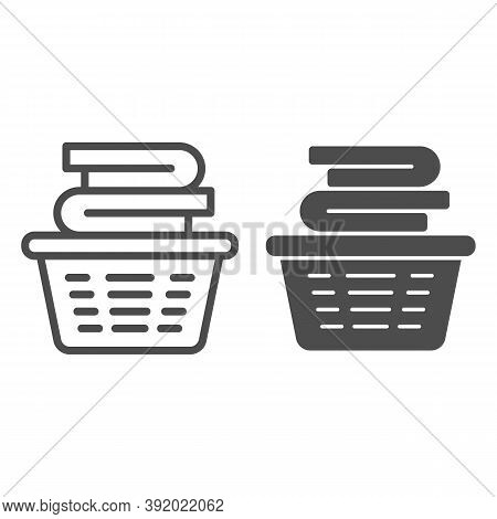 Laundry In Basket Line And Solid Icon, Household Concept, Cloth Stack In Plastic Basket Sign On Whit
