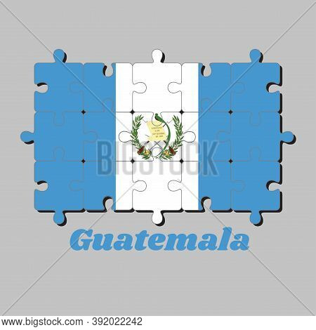 Jigsaw Puzzle Of Guatemala Flag And The Country Name, Blue And White Color With The National Emblem
