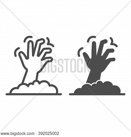 Dead Man Hand Line And Solid Icon, Halloween Concept, Zombie Hand Breaking Out From Under Ground Sig