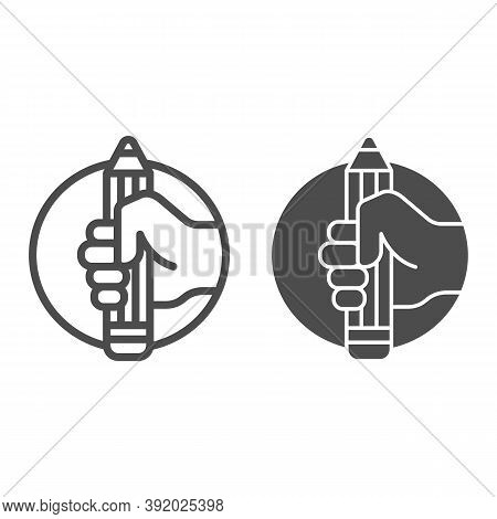 Pencil In Hand Line And Solid Icon, Art Concept, Large Pencil In Hand Sign On White Background, Hand