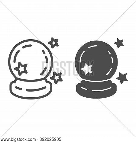 Crystal Ball Line And Solid Icon, Halloween Concept, Magic Ball For Predictions Sign On White Backgr