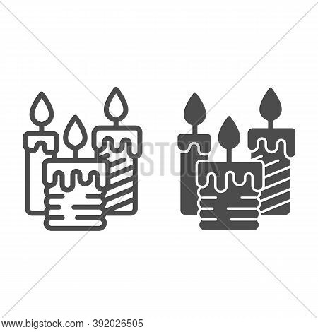 Three Burning Candles Line And Solid Icon, Illumination Concept, Candle Sign On White Background, Wa