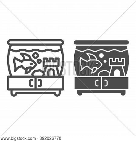 Aquarium With Fish And Castle On Pedestal Line And Solid Icon, Pets Concept, Tank Of Water With Fish
