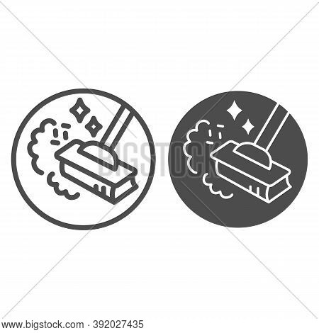 Sweeping Dust With Broom Line And Solid Icon, Housework Concept, Broom In Dust Clouds Sign On White