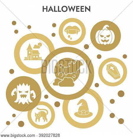 Halloween Infographic Design Template With Icons. Paranormal Activity Infographic Visualization Desi
