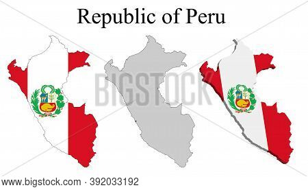 Flag Of Peru On Map And Map With Regional Division. Vector Illustration