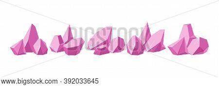 Crystals Broken Into Pieces. Big Set Of Smashed Ruby Crystals. Broken Gemstones Or Pink Rocks. Vecto