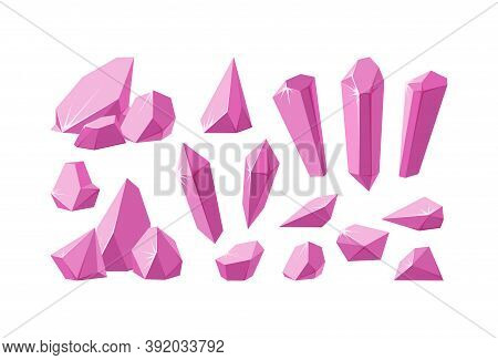 Crystals And Pink Gemstones. Set Of Ruby Crystal Prisms And Pieces With Sparkling Facets. Amethyst G