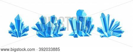 Ice Crystals Or Blue Gem Stones. Set Of Crystal Druses Made Of Blue Quartz Isolated In White Backgro