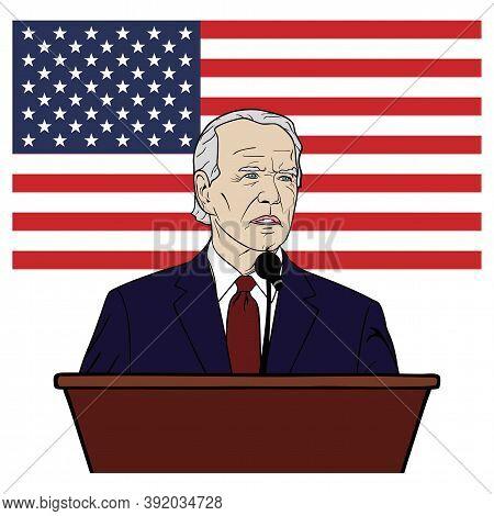 Election Of Usa, Joe Biden Speech On Podium, Flag Of The United States, Flat Design, Vector, Illustr