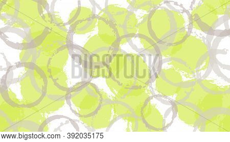 Colorful Painted Circles Geometry Fabric Print. Round Shape Blot Overlapping Elements Vector Seamles