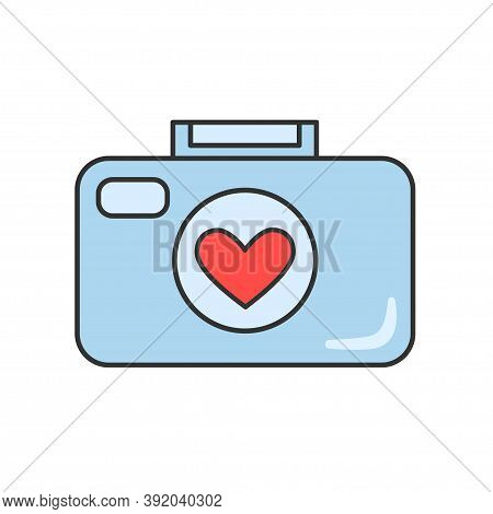 Photo Camera Icon. Camera With A Heart In The Lens. Isolated Vector Illustration On White Background