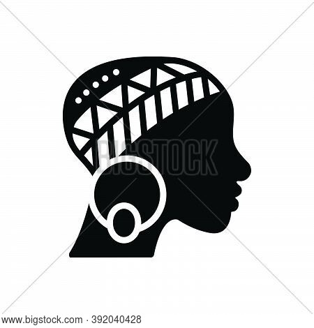 Black Solid Icon For African Art American Beautiful Culture Design Earring Face Femal Ethnic Ethnici
