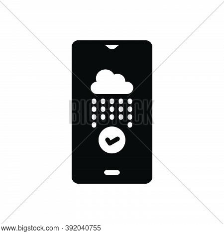 Black Solid Icon For Ensure Make-sure Confirm Cloud Rainy Establish Secure Safeguard Protect Insure